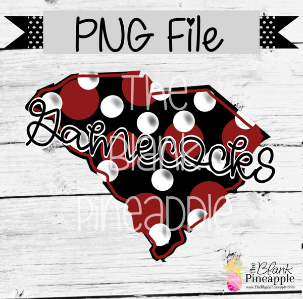 PNG - South Carolina Gamescocks State with Polka Dots