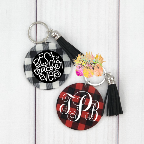 Acrylic Buffalo Plaid Key Ring
