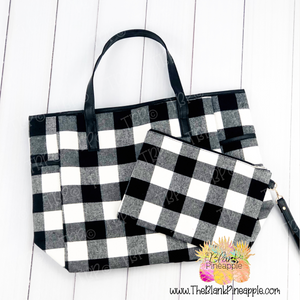 White Buffalo Plaid Tote Set