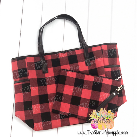 Red Buffalo Plaid Tote Set