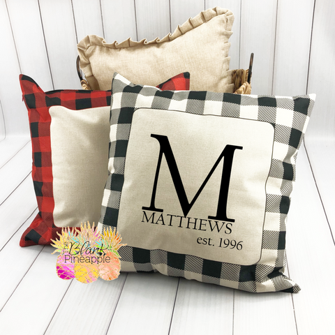 "Buffalo Plaid Pillow Cover with Faux Burlap Insert 18"" x 18"""