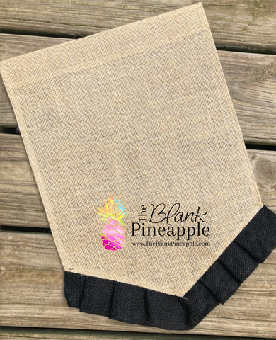 Burlap Pennant Garden Flag with Black Ruffle