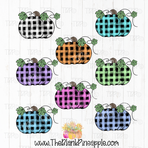 PNG -  Watercolor Check Pumpkins 8 colors