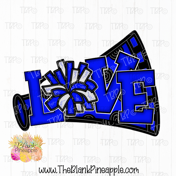 Cheerleading Megaphone and Pom Pom Sublimation Design PNG