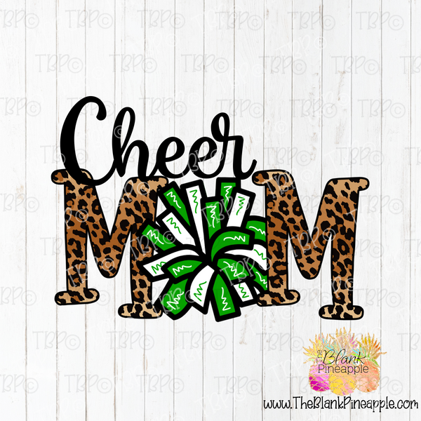PNG -  Cheer Mom Pom Pom in Leopard and Green