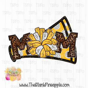 Leopard Cheer Mom Sublimation Design PNG