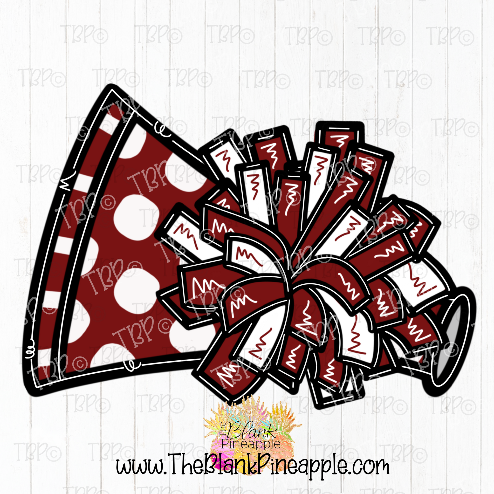 Cheerleading Pom Pom and Megaphone Sublimation Design PNG
