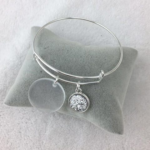 Adjustable Bangle with Clear Disc and Faux Druzy Charm