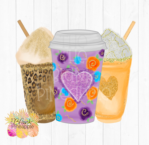 Hearts Fall Coffee Sublimation Clipart PNG