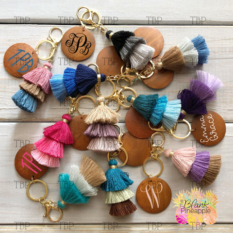 "3"" Ombre Tassel Wood Disc Key Ring"