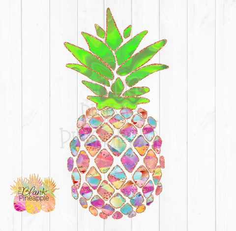 PNG - Coral and Glitter Pineapple