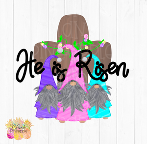 PNG -  Pastel Easter Gnomes with Cross He is Risen #2