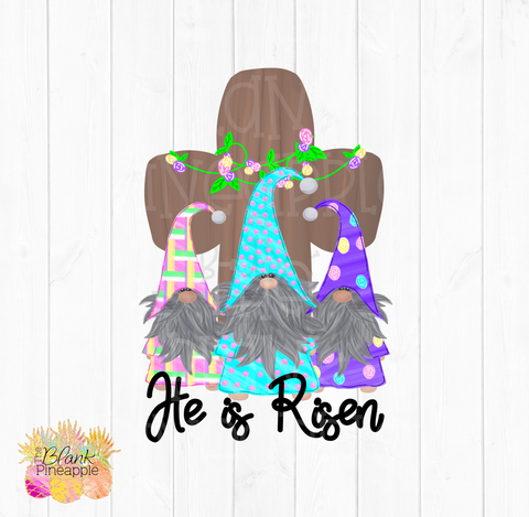 PNG - Patterned Easter Gnomes with Cross He is Risen #1