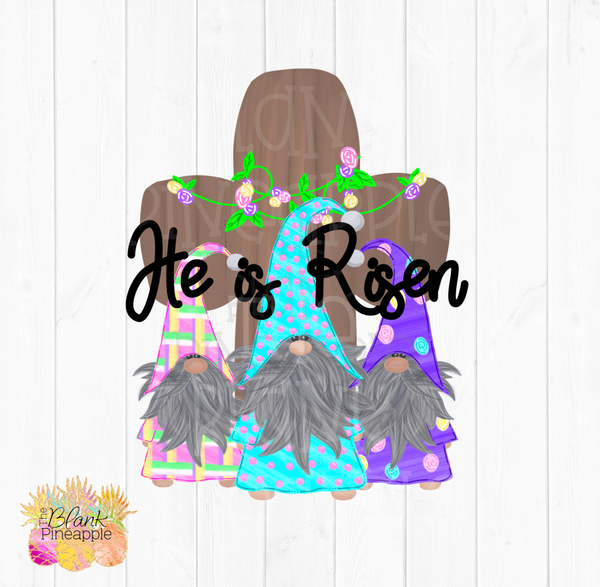 PNG - Patterned Easter Gnomes with Cross He is Risen #2
