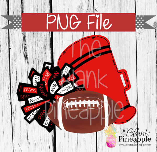 PNG - Football , Pom Pom, and Megaphone Red & Black