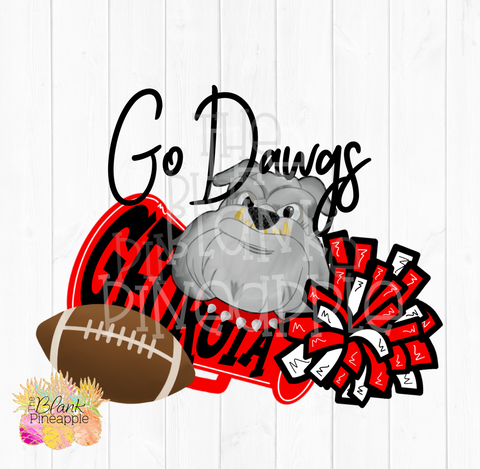 Georgia Bulldogs Go Dawgs Football Sublimation Design