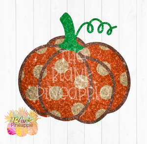 Glitter Polka Dot Pumpkin Sublimation clipart