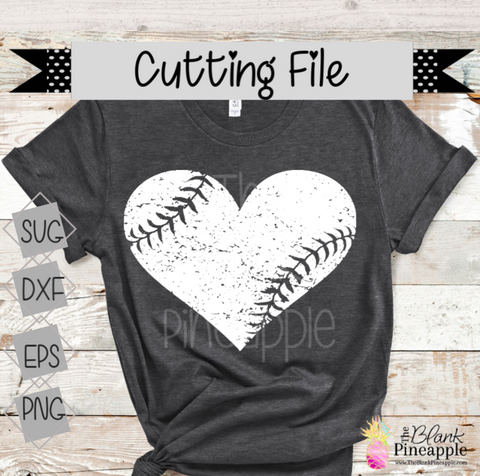 CUT FILE - Distressed Baseball Heart