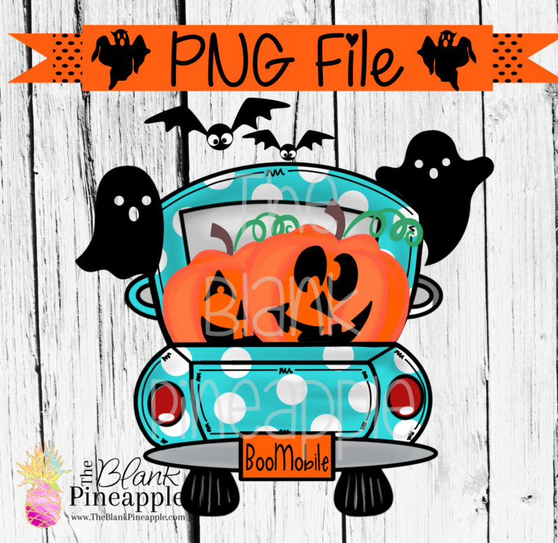 PNG - Halloween Truck with Jack O Lanterns Aqua Polka Dots