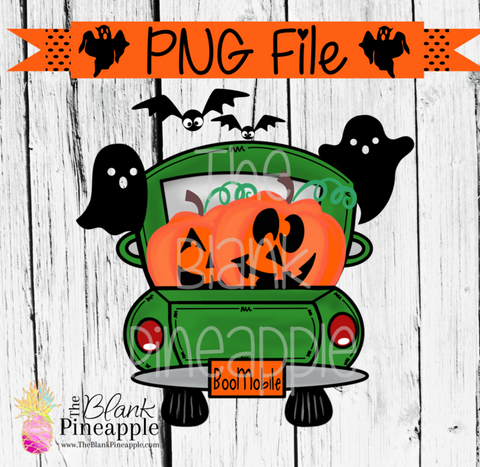 PNG - Halloween Truck with Jack O Lanterns Green