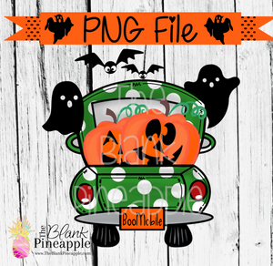 PNG - Halloween Truck with Jack O Lanterns Green Polka Dots