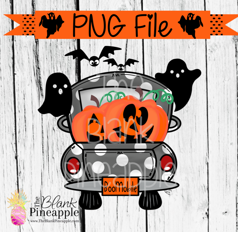 PNG - Halloween Truck with Jack O Lanterns Grey Polka Dots