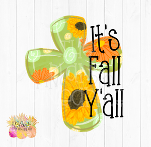 Sunflower It's Fall Y'all Cross PNG Sublimation clipart