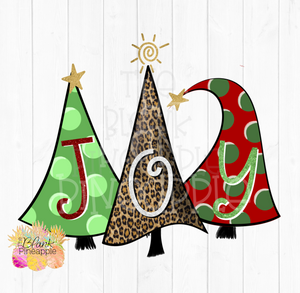 Whimsical Joy Christmas Trees Sublimation clipart