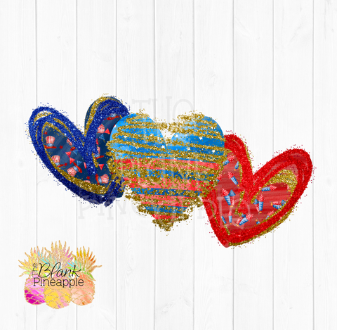 July 4th Glitter Hearts Sublimation clipart