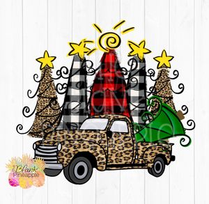 Christmas Trees with Leopard Truck Sublimation clipart
