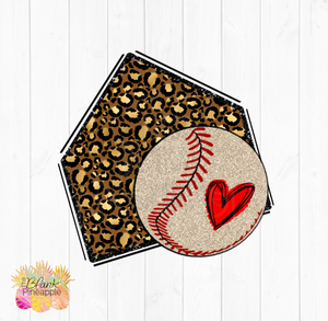 PNG - Glitter Leopard Home plate with Champagne Glitter Baseball
