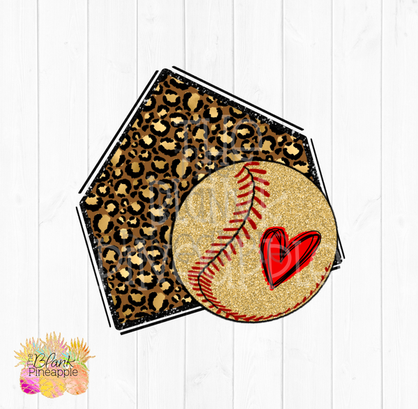 PNG - Glitter Leopard Home plate with Gold Glitter Baseball