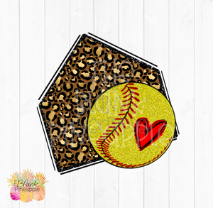 PNG - Glitter Leopard Home plate with Yellow Glitter Softball