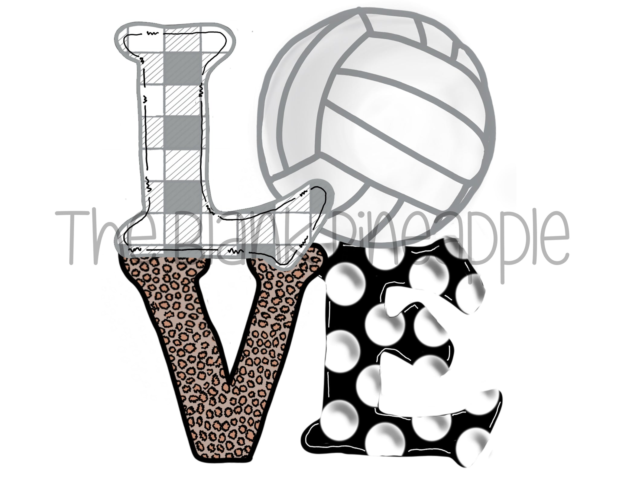 PNG - Volleyball Love Grey Plaid