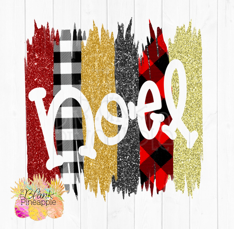 Christmas Sublimation Designs Plaid and Glitter Noel