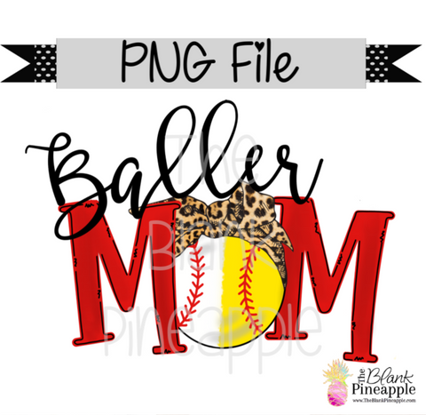 PNG - Base/Softball Baller Mom Leopard Bandana