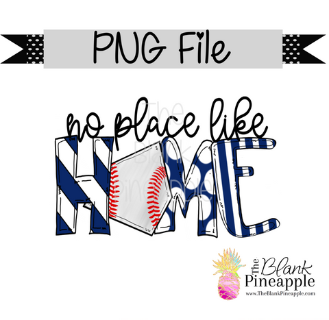 "PNG - Baseball ""no place like home"" Navy"