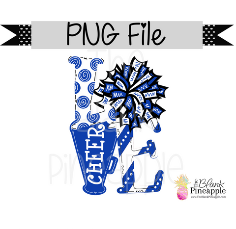 PNG - Love Cheer Blue and White