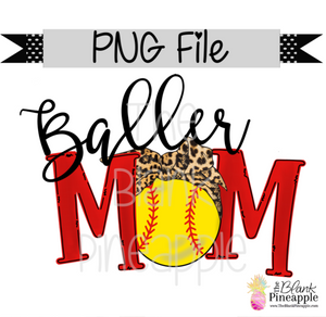 PNG - Softball Baller Mom Leopard Bandana