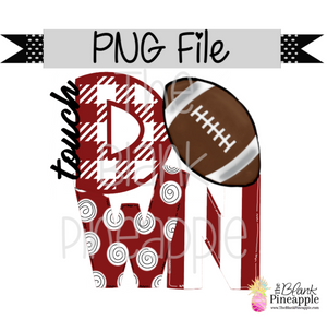 PNG - Football Touch Down Crimson/White