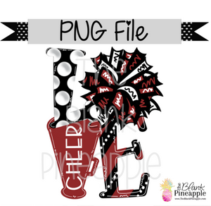 PNG - LOVE Cheer Crimson/Black/White