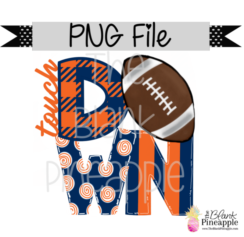 PNG - Football Touch Down Blue/Orange
