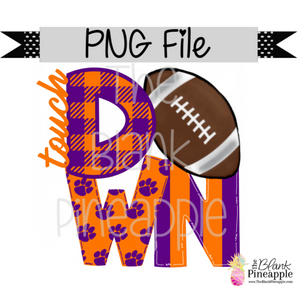 PNG - Football Touch Down Purple/Orange Paws