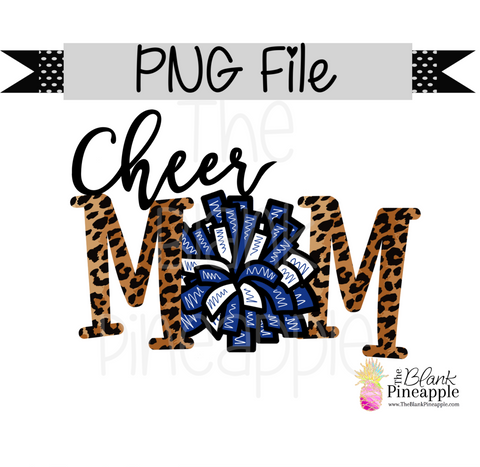 PNG - Cheer Mom Blue and White with Leopard