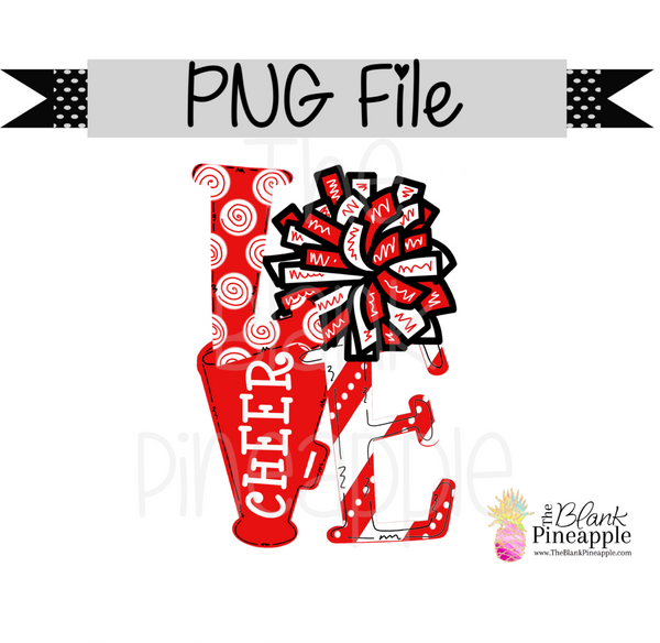 PNG - Love Cheer Red and White