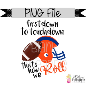 PNG - Football First Down to Touchdown Orange/Blue