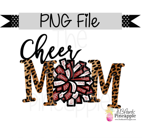 PNG - Cheer Mom Maroon and White with Leopard