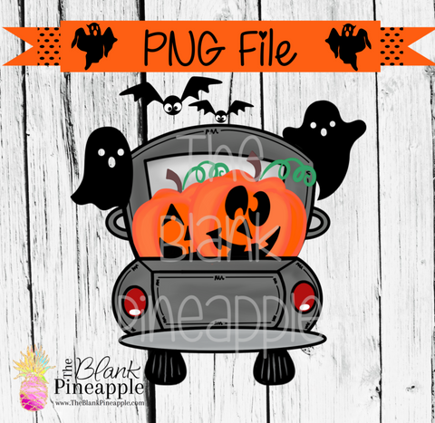 PNG - Halloween Truck with Jack O Lanterns Grey