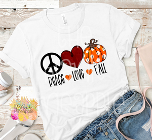PNG -  Peace Love Fall Polka Dot Pumpkin