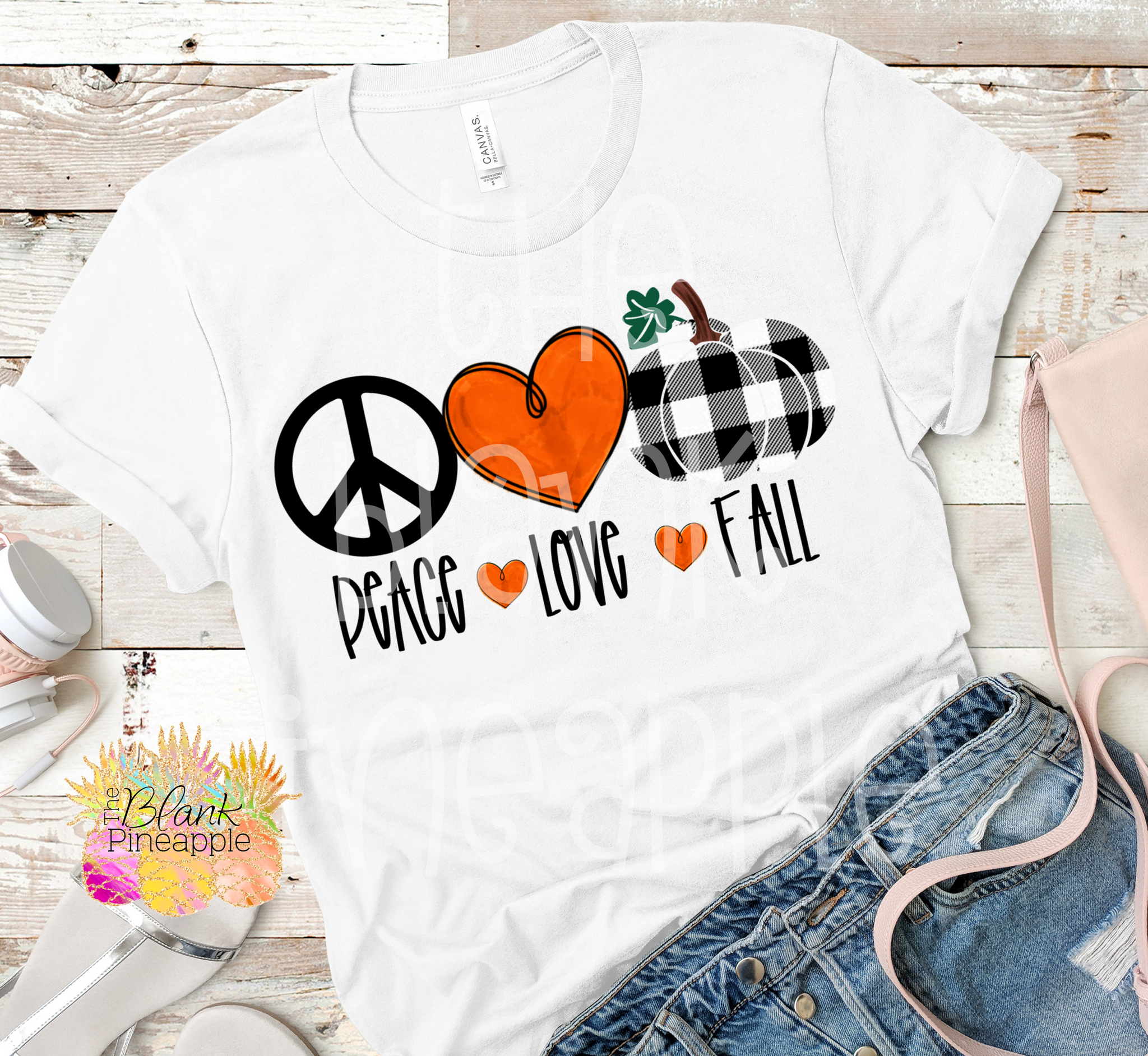 PNG -  Peace Love Fall Buffalo Plaid Pumpkin